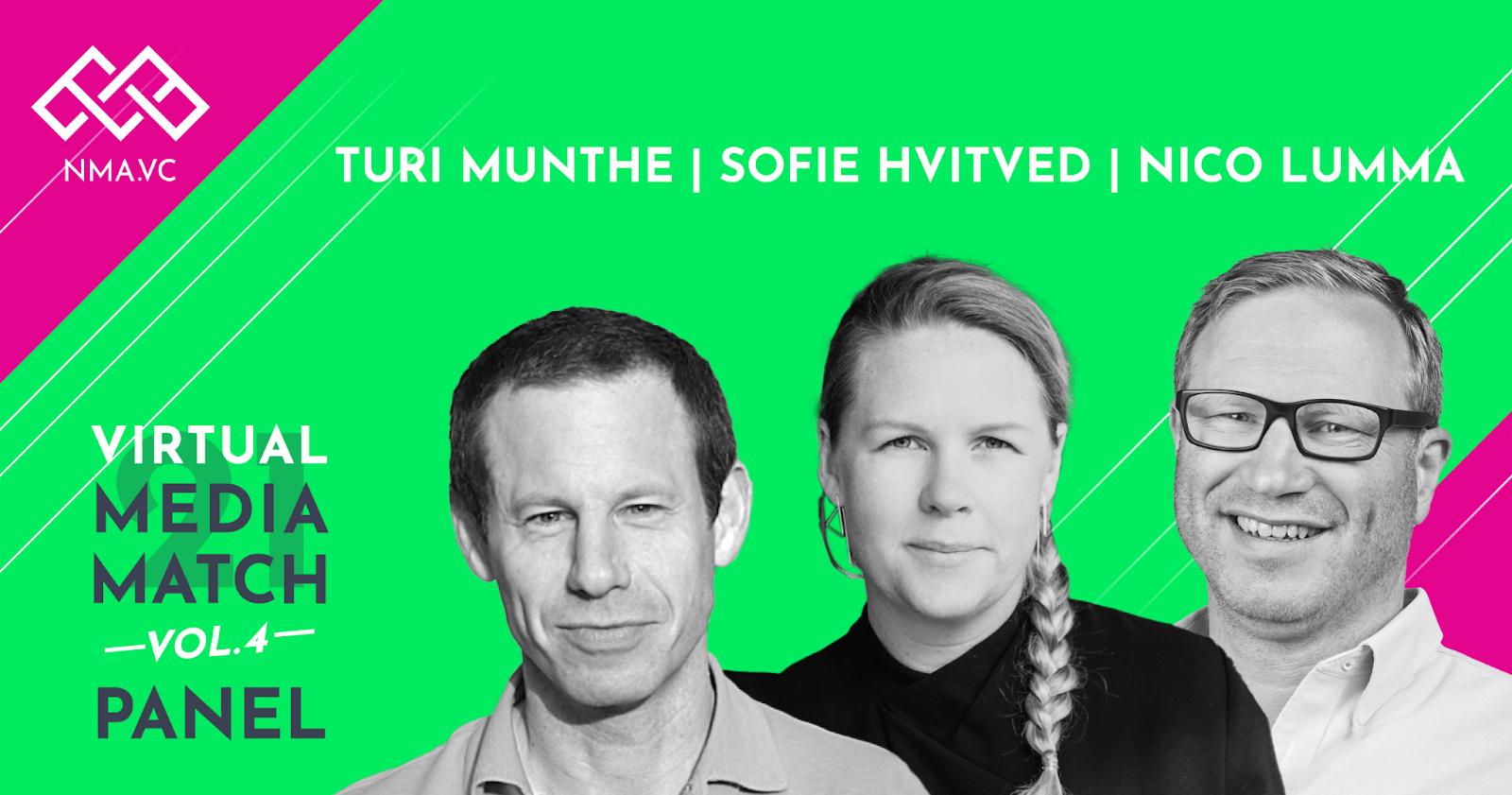 The panelists Turi Munthe, Sofie Hvitved and Moderator Nico Lumma.